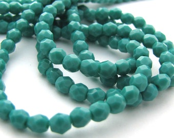 NEW Persian Turquoise 4mm Facet Round Czech Glass Fire Polished Beads #2081