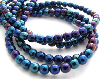 Iris Blue 4mm Smooth Round Czech Glass Beads 100pc #681