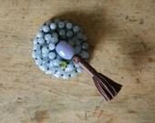 aquamarine mala, harmony and joy, aquamarine, peridot & chalcedony, 108 bead gemstone mantra mala, prayer beads