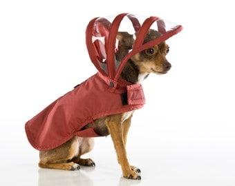 Dog Raincoat - Maroon - Rainbow Line