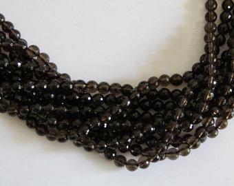 """Smoky Quartz 8mm faceted round beads 16"""" length strand"""