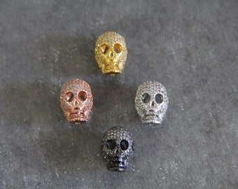 CZ Micro Pave 11x18mm  Skull  Beads