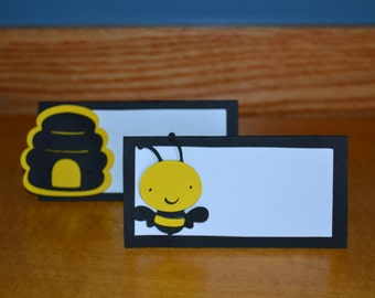 Bee Place Cards / Food Tents - Set of 12 - Birthday Party / Baby Shower