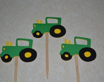 Tractor Cupcake Picks Toppers - Set of 12 - Tractor Birthday