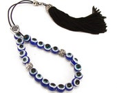 Blue Evil Eye Greek Worry Beads, Komboloi, Silvertone Metal Master Bead & Black Tassel