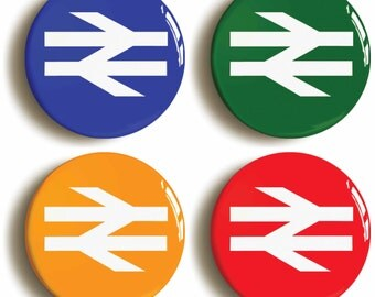 British Rail badges buttons pins. Set of four in various colours (1inch/25mm diameter)