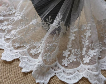 White Embroidery Tulle Lace Fabric, Cotton Lace Trims, White Floral Lace Trim, Wedding Bridal Doll Dresses Costumes Sewing