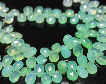Light Green Shaded Chalcedony Faceted Pear Briolettes, 11 - 12 mm, 6 beads GM0713FP/11/2#142