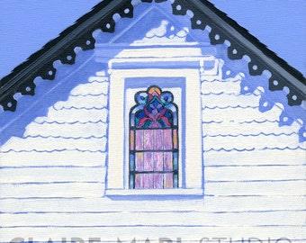 "Block Island coastal cottage - seaside inn art print,  Victorian gable, white and black, ""1661 Inn"""