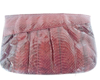 Red Snakeskin Clutch Purse 80s 90s