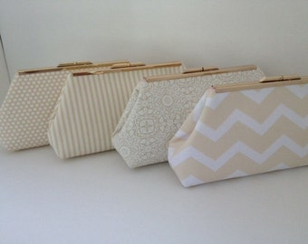 Discount Pricing for Multiple Beige Cream Clutch Purses with Silver Tone Frame, Wedding, Bridesmaid, Neutral, Damask, Special Occasion, Bag,