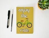 Customized Hand Painted Notebook, Moleskine journal, sketchbook, Bicycle Art, Enjoy the Ride