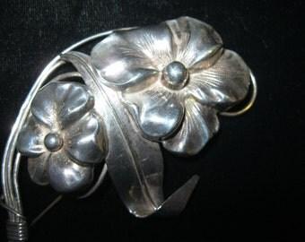 "1940's Sterling Pansies 4-1/2"" Repoussee Brooch Art Nouveau Design"