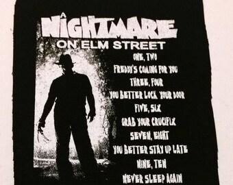 NIGHTMARE on ELM STREET rhyme patch punk horror freddy krueger Free Shipping