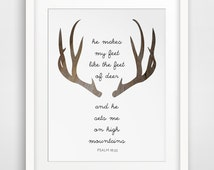 Deer Bible Verse, Deer Prints, Modern Christian Art, Scripture Print, Christian Prints, Psalms Print, Deer Antler Verse, Christian Quote