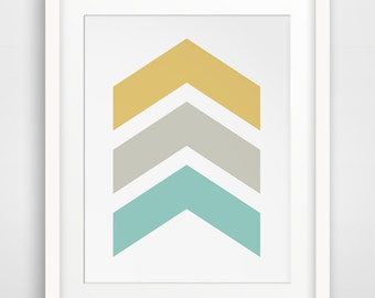 Yellow Chevrons Wall Art, Mustard Yellow Chevron Print, Yellow and Blue Wall Prints, Chevron Wall Art, Turquoise Chevron Wall Print
