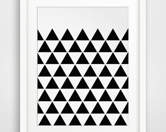 Black Triangle Print, Triangle Wall Art, Black Triangles, Geometric Wall Art, Black and White, Triangle Wall Print, Triangle Digital Art