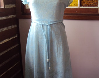 Vintage pale blue lace  dress with cowl neck flounced skirt and sleeves size 14