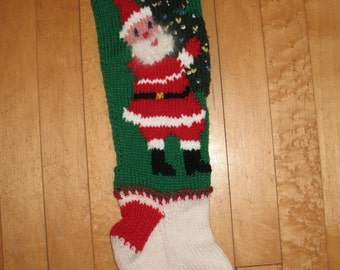 Vintage Hand Knit Christmas Stocking with Santa carrying a Decorated Tree/NOW TAKING ORDERS for 2017