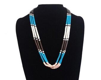 Blue Turquoise Southwest Triple Strand Heishi Necklace
