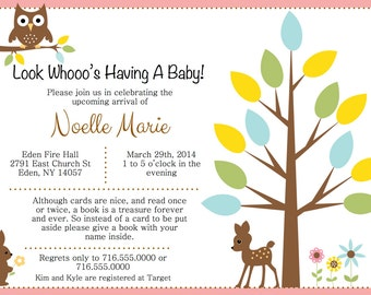 Forrest Animal Baby Invitation