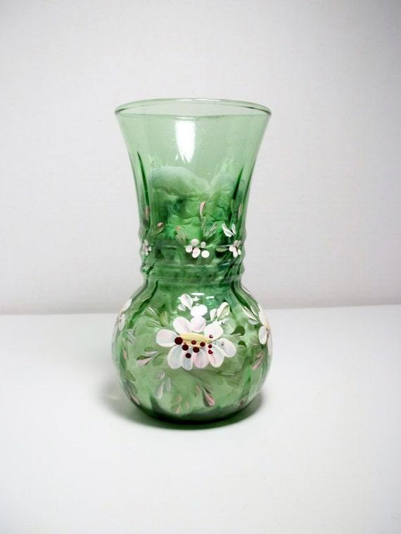 Glass Vase Green Glass Hand Painted Vase Scandinavian