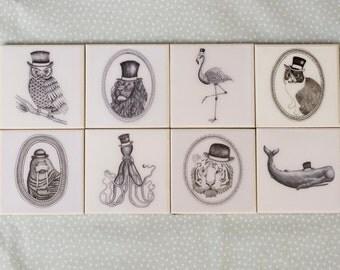 Set of 8 Gentleman Animals Coasters
