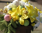 Easter Centerpiece Yellow and White Silk Easter Lilys Pink Green Yellow Speckled Foam Eggs Felt Chick in Brown Easter Basket Centerpiece