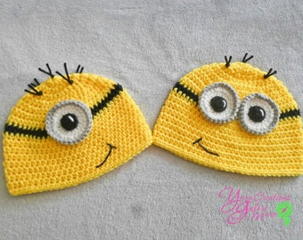 Minion Crochet Hat (No Ear-flaps)-Yellow