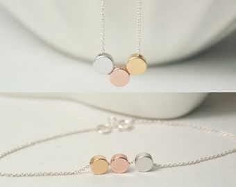 Simple necklace. Simple Bracelet. THREE color , three mix metal,3 tone, jewelry.Three best  friends , 3 daughters . 3 sisters dainty, chic.