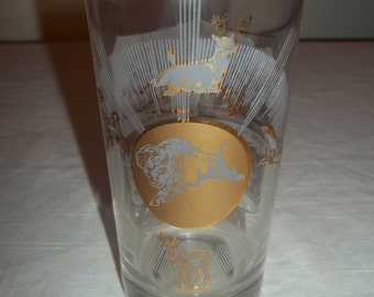 Souvenir Glass South Dakota State Mt Rushmore Gray and Gold Drinking Glass