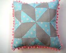 Patchwork Pillow Pom Pom Nursery Decor Pink Vintage Inspired Girl Room Little Girl Birthday Gift Baby Nursery Cottage Chic
