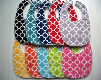Quatrefoil Baby Bib - Baby Toddler Bib - Triple Layer Chenille Bib, Adjustable Size from Infant to Toddler