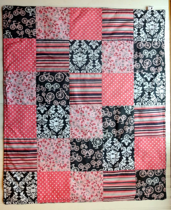 Minky Girl Patchwork Quilt - Michael Miller It's a Girl  - Gray and Pink  - Baby Quilt - Baby Blanket - Minky Baby Blanket