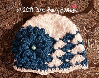 Adorable White Shell Crochet Baby Girl Hat with Teal  flower,  Made to Order , Baby Girl  Hat with Flower,  Photo Prop Beanie