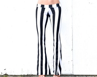 BLACK WHITE vertical striped wide leg or flare leg bell bottom fashion gypsy hippie retro festival yoga beach lounge pants