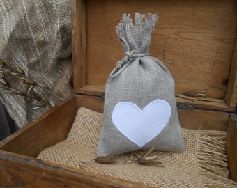 Favor Bag Wedding Favor Bag Heart Bag Bridal Gift Bag Bridal Favor Bag Linen Gift Bag Rustic Linen Linen Favor Bag Wedding Candy Bag Rustic