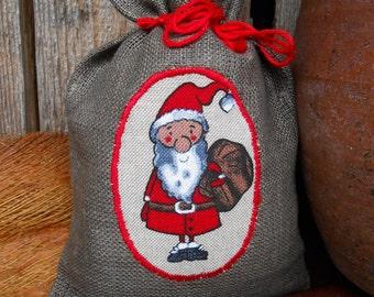 Christmas Gift Bag Holiday Gift Bag Santa Sack Scandinavian Linen Gift Bag Christmas Bag Gnome Elf Tomte Nisse Gift Wrap Swedish Christmas