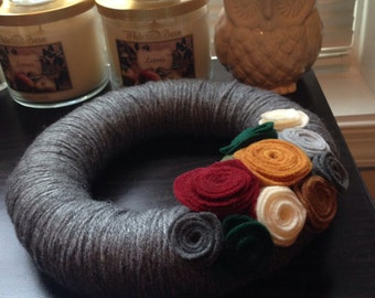 Sweater Wreath - Fall Yarn Wreath - Thanksgiving Wreath - Autumn Wreath - Fall Wreath - Yarn Wreath - Felt Flower Wreath - Felt Yarn Wreath
