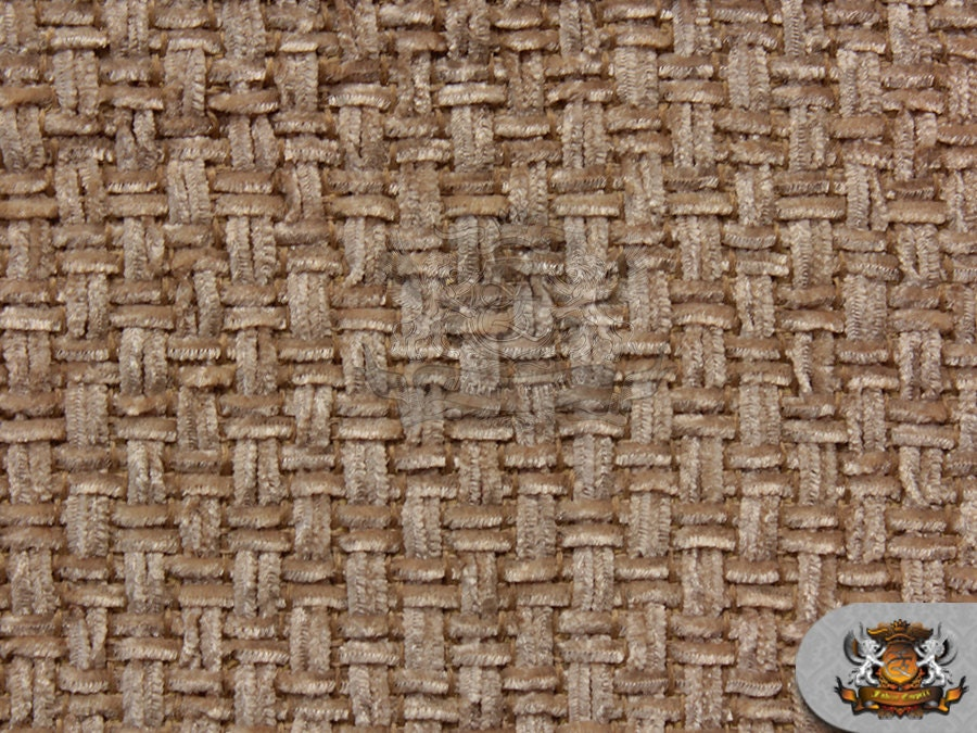 Types Of Material For Basket Weaving : Chenille solid basket weave camel fabric wide