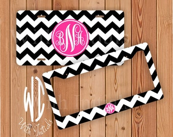 Chevron Black And White License Plate Or Frame Monogrammed - Hot Pink Monogram Chevron Car Tag Chevron Bike Accessory