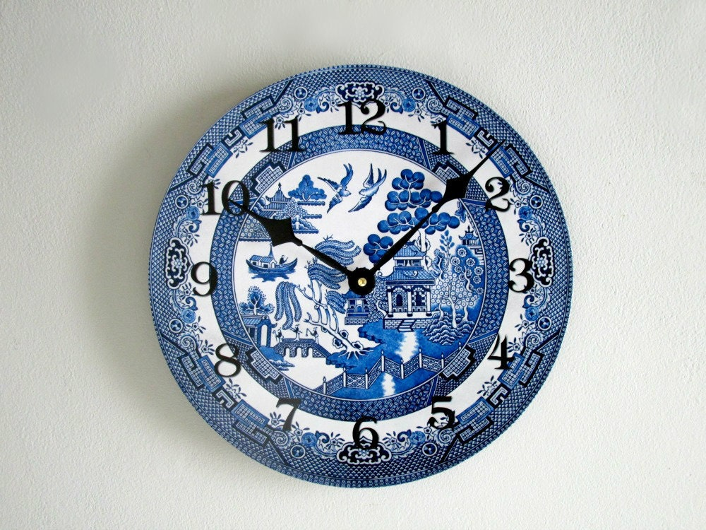 Blue Willow Wall Clock Blue And White Decor By