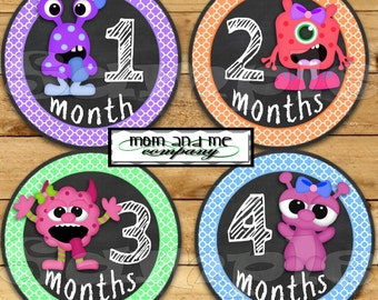 Monster Baby Girl Monthly sticker Baby Shower gift Baby Month stickers Month baby sticker Milestone stickers Onepiece chalk chalkboard decal