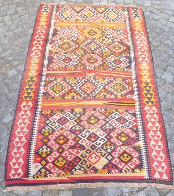 Fine Colorful Turkish Kilim Rug Bohemian Carpet By
