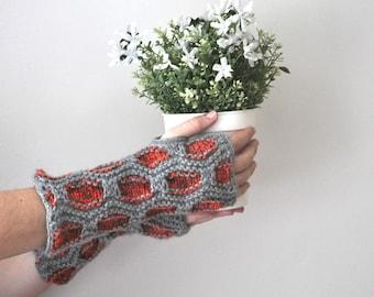 Fingerless gloves, Knitted gloves in gray and orange, Woman knit gloves, Handknit fingerless gloves