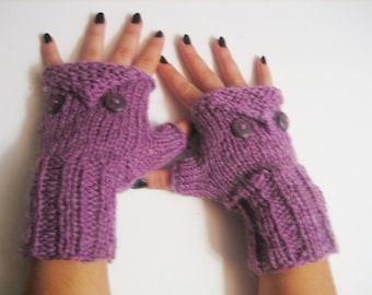 20% off SALE! Ready to ship! Owl Knitted Fingerless Gloves winter fingerless autumn fingerless women mittens purple mitt Wristwarmers