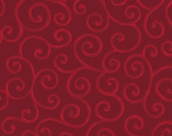 Fat Quarter Christmas Pure & Simple - Scrolls in Claret Red - Cotton Quilt Fabric - Nancy Halvorsen for Benartex - Pure and Simple (W1753)