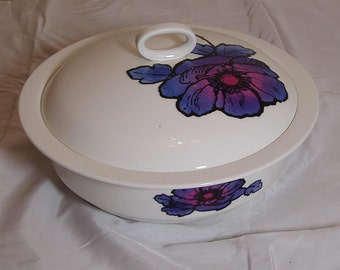 Vintage Susie Cooper Design Blue Anemone Wedgwood Serving Bowl with Lid