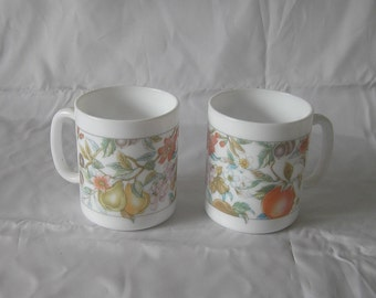 Two Arcopal Pyrex Eve pattern Mugs Made in France