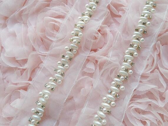 Ivory Beaded Trim, Rhinestone Trim, Wedding Gown Beaded Trim, Bridal ...